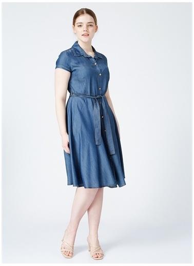 Selen Selen Kadın İndigo Düz Elbise İndigo